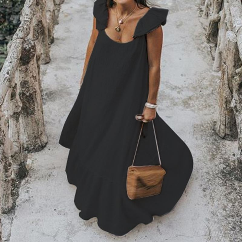 Pleated O Neck Short Butterfly Sleeve Ruffle Loose Maxi Dress