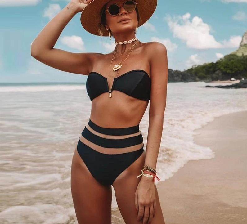 Off Shoulder Push Up High Waist Mesh Bikini