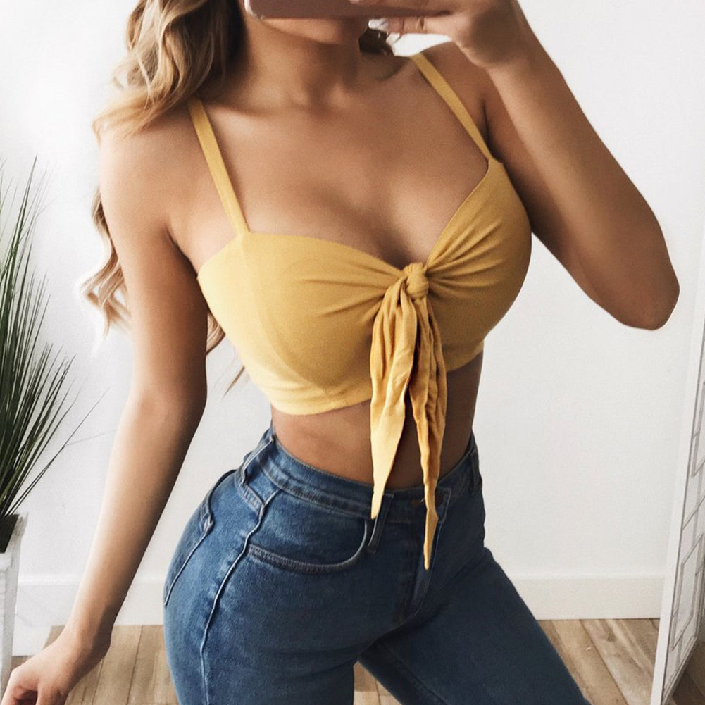 Tie Crop Sleeveless Strap Casual V Neck Tanks Top