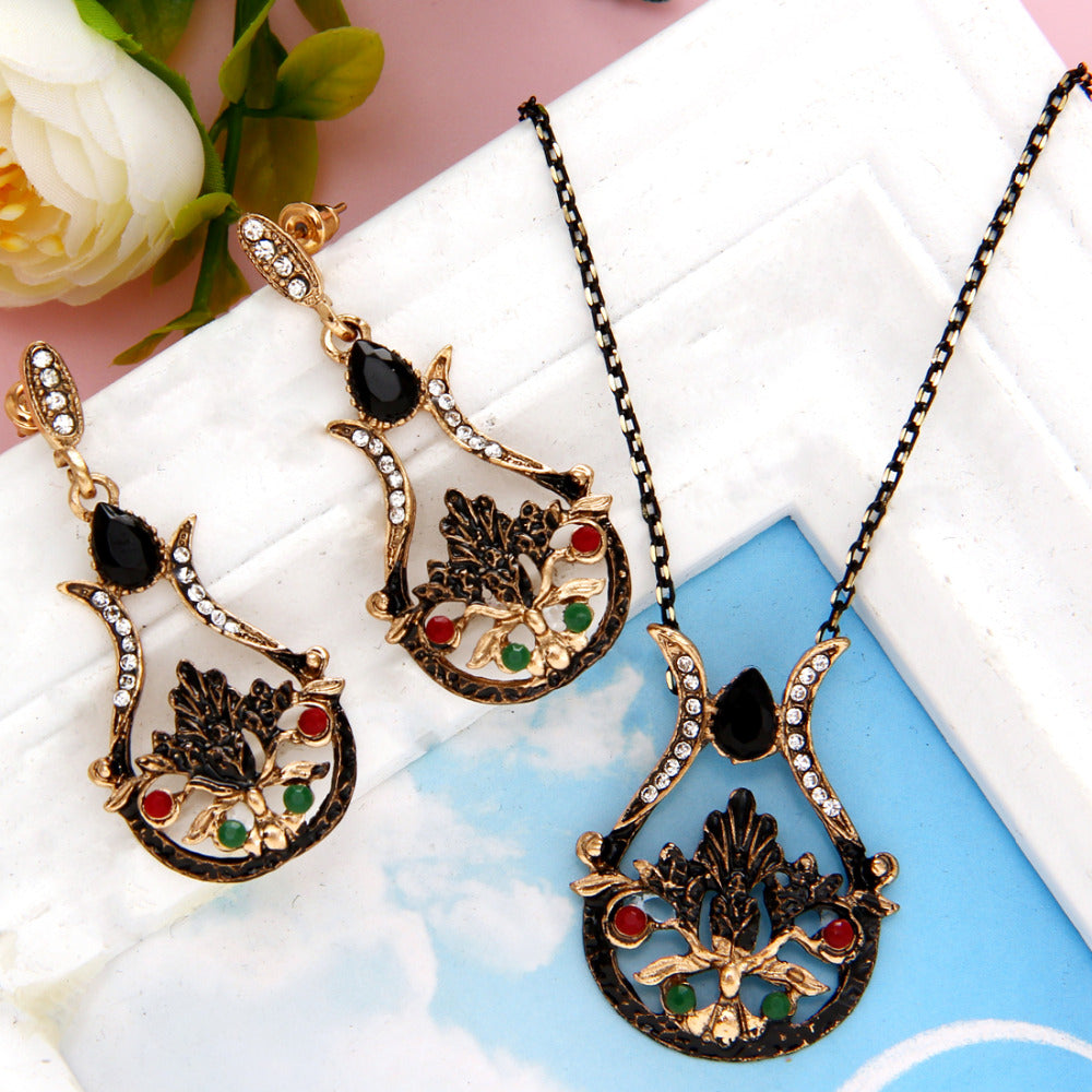 Rhinestone Crystal Earrings Necklace Jewelry Set