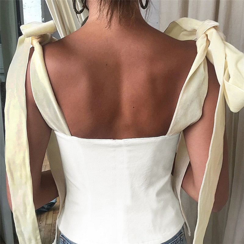 Vintage Style Bow Strap Sleeveless Bandage Vest Crop Top