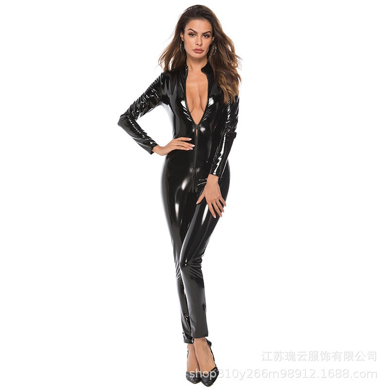 PU Leather Open Crotch Zipper Long Sleeve Skinny Jumpsuit
