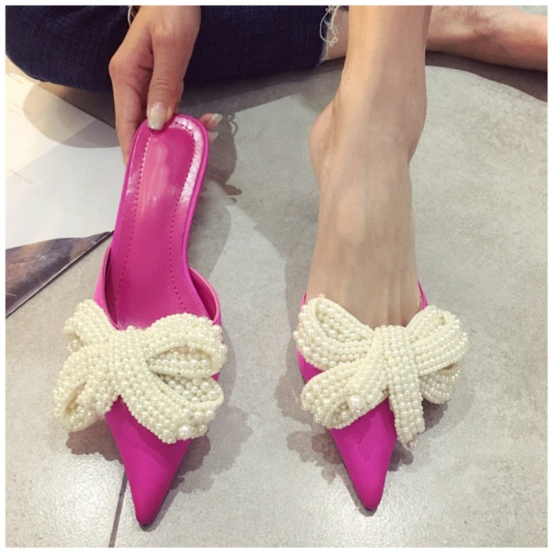 Pearl Decorated Butterfly Bow Knot Pointed Toe Med Heel Mules Slip On