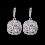 Crystal Square Shape Drop Luxury Earrings