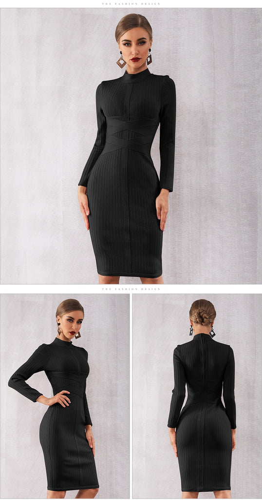 Bandage Nude Long Sleeve Midi Dresses