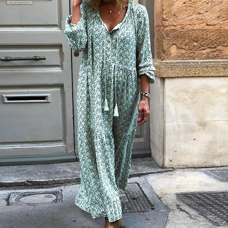Tassel Floral Print V Neck Long Sleeve Loose Maxi Dress