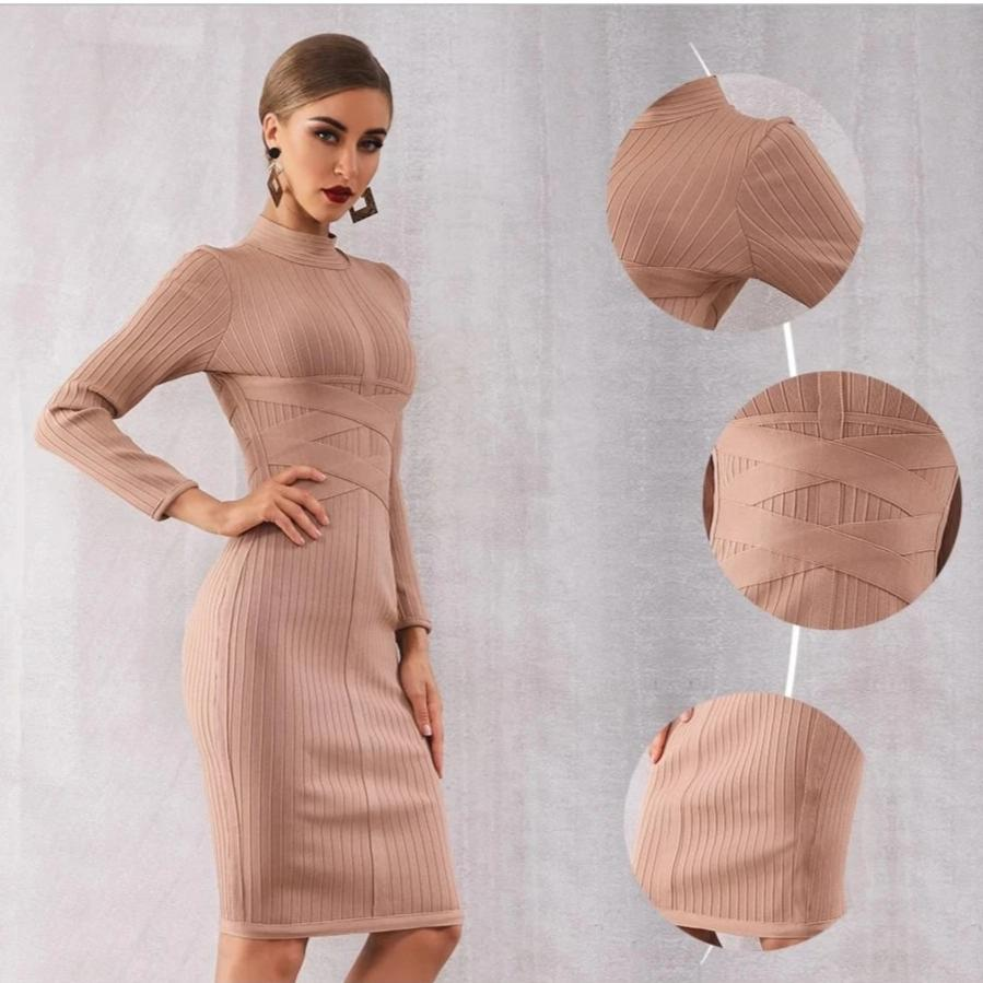 Long Sleeve Vestidos Celebrity Midi Dresses