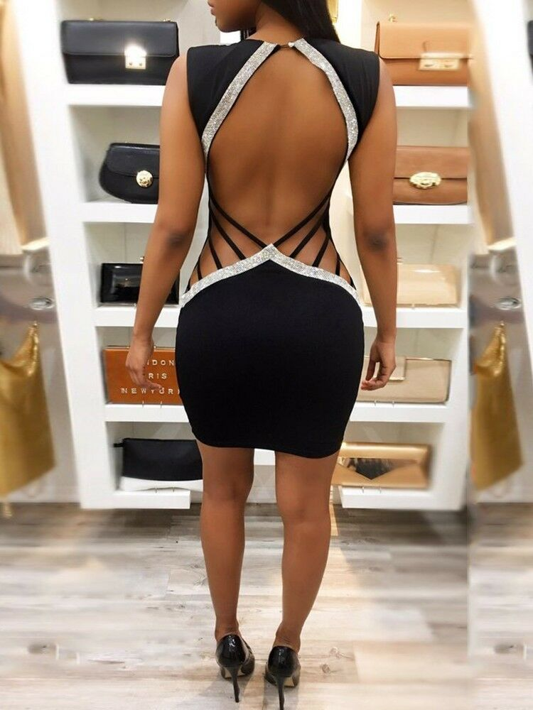 Hollow Out Back Strappy Side V-Neck Mini Bodycon Dress