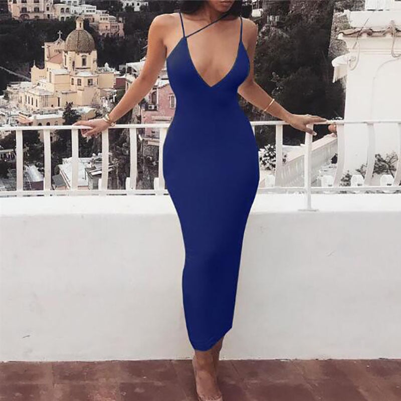 Elegant Fluorescent Backless Spaghetti Strap Midi Dress