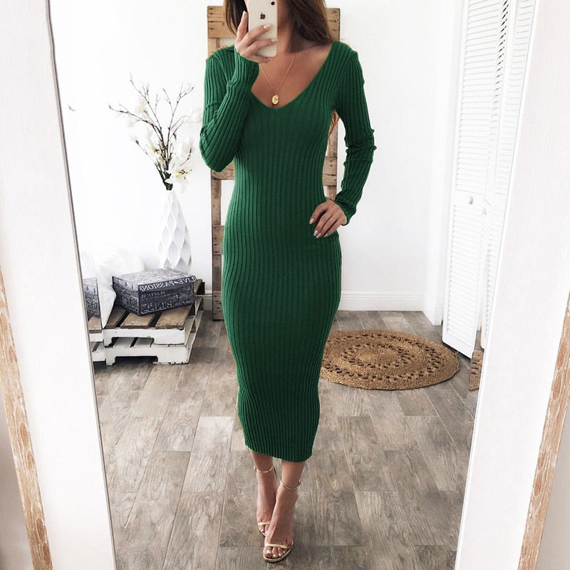 Knitted Sweater V Neck Off Shoulder Long Sleeve Bodycon Dress