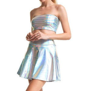 Two Piece Shiny Holographic Tube Turtleneck Crop Top