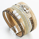 Bohemian Multilayer Leather Wide Wrap Charm Bracelet