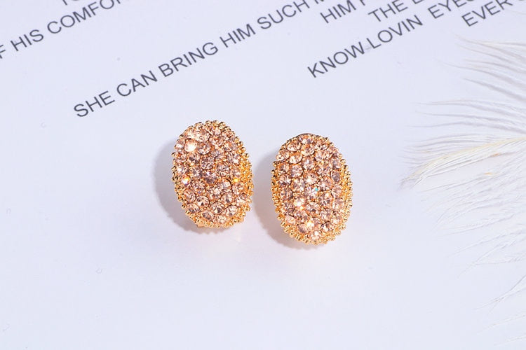 Round Full Crystal Champagne Stud Earrings