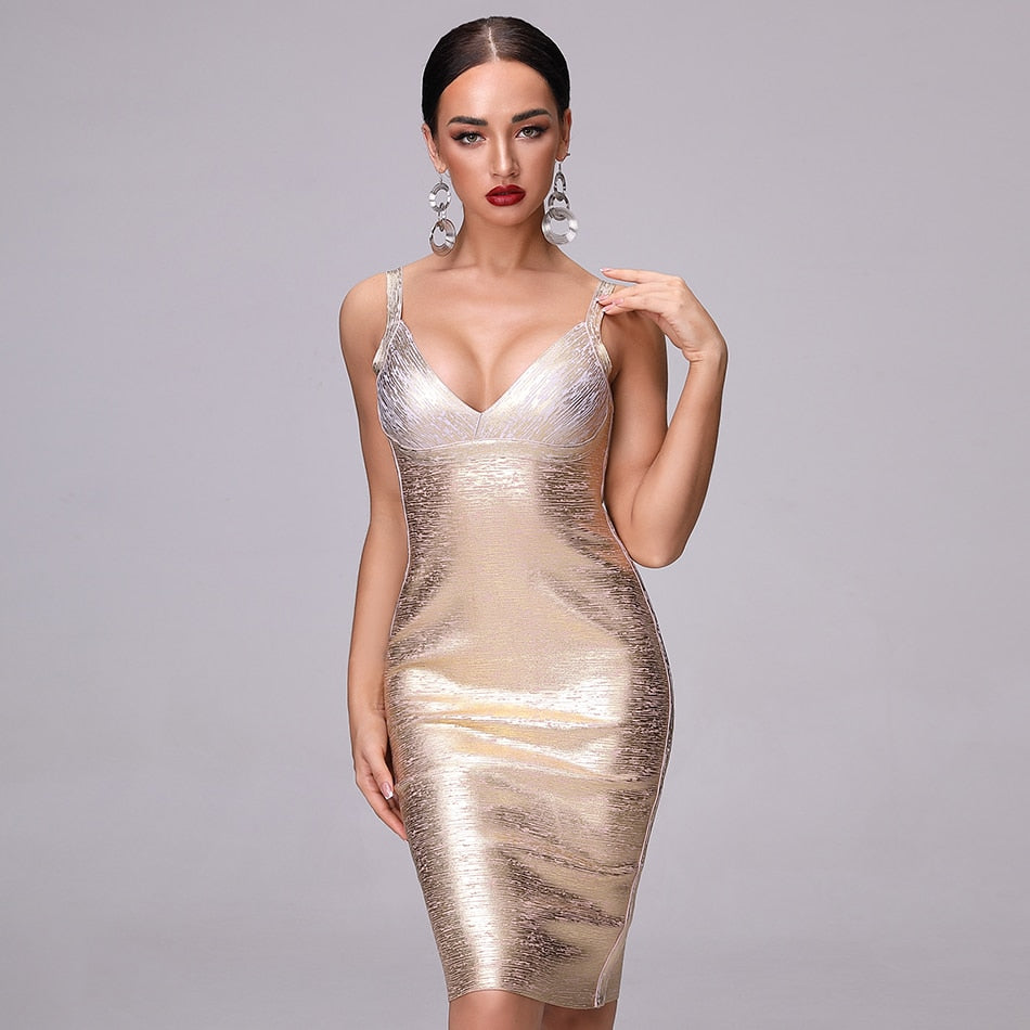 Reflective Sleeveless V-Neck Bronzing High Waist Bodycon Dress