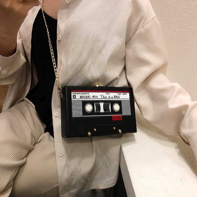 Vintage Tape Shape Chain Clutch Bag