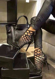 Rivets Studded Cut Out Caged Ankle Boot