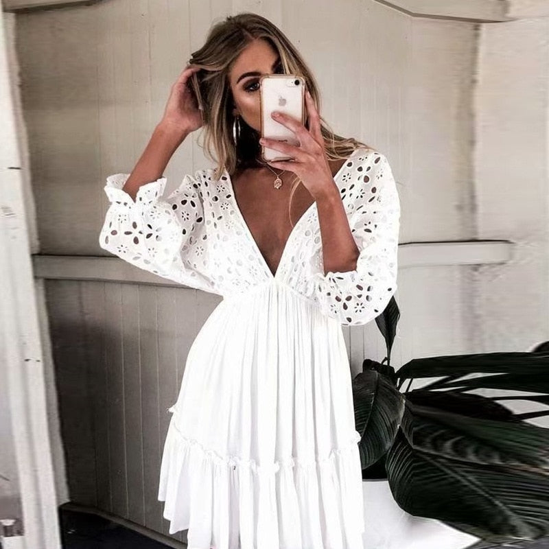Embroidery Lace Cotton Half Sleeve Backless Casual Dress