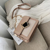 Chain PU Leather Special Lock Design Handbag