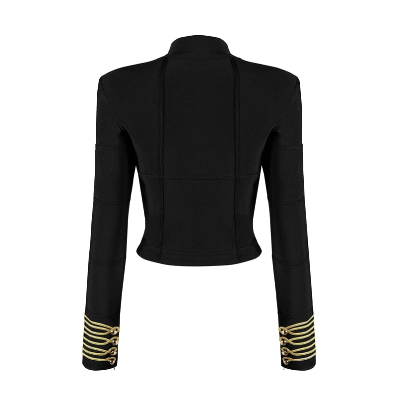 Full Sleeve Turtleneck Bandage Beaded Crop Top