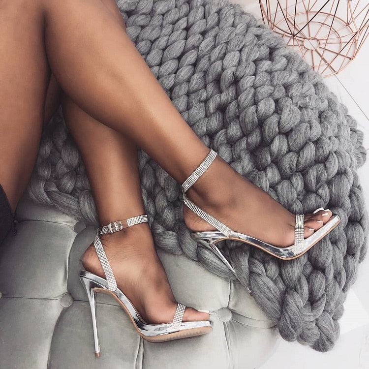 Rhinestone Bling Crystal Buckle Straps High Heeled Sandals