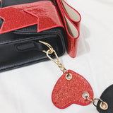 Bow Casual PU Leather Solid Heart Rivet Handbag