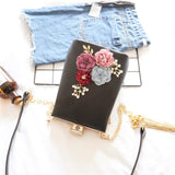 Embroidered Flowers Diamond Chain Clutch Bag