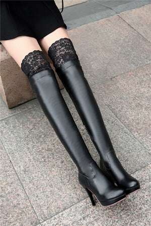 Lace Zipper Thin Heel Round Toe Long Boots