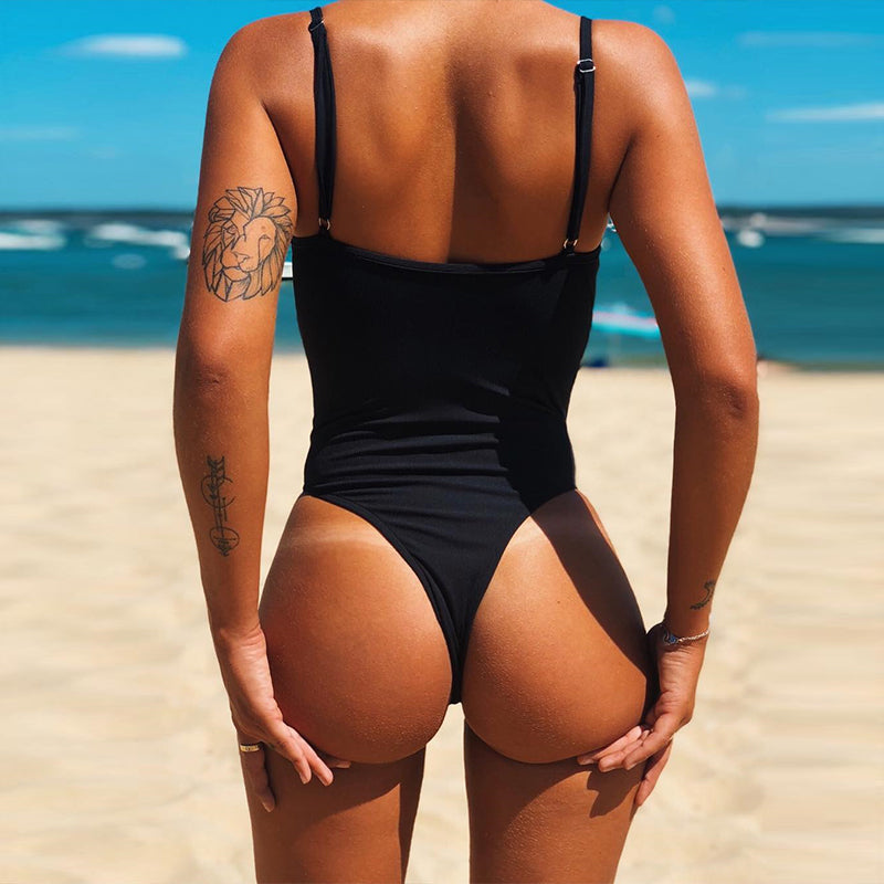 Ribbed Backless Push Up High Cut Thong Bikini