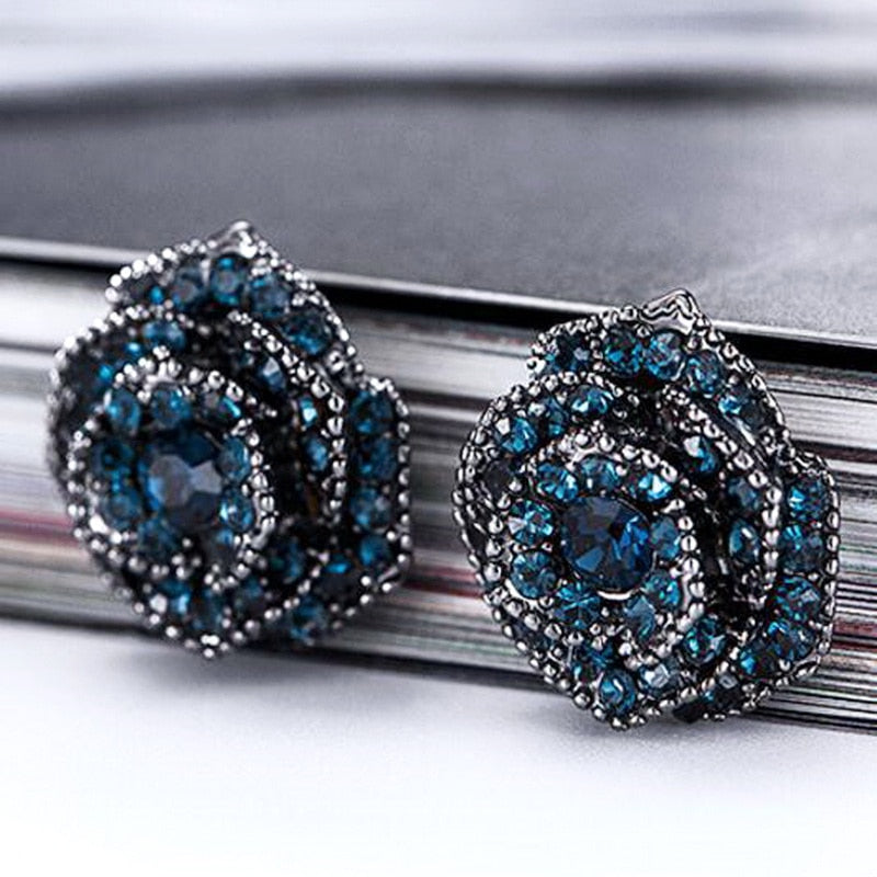 Rose Flower Blue Crystal Stud Earrings