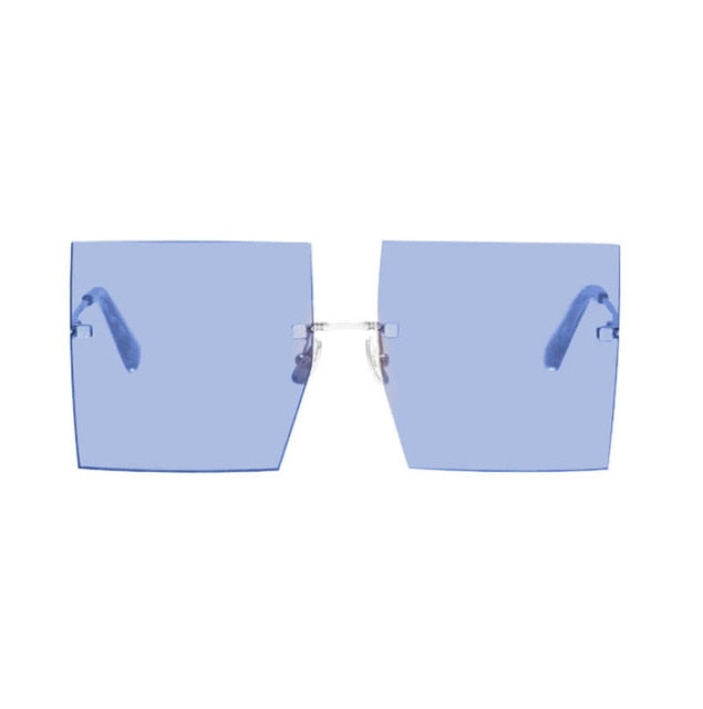 Flat Top Clear Fashion Oversized Rimless Square Sunglass
