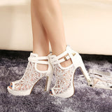 Peep Toe Lace Mesh Thick Pump