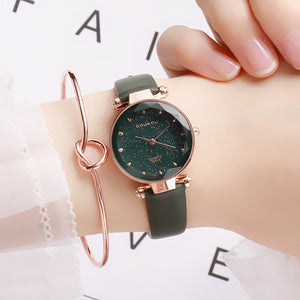 Stardust Crystal Round Case Leather Straps Wristwatch