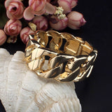 Wide Chain Shape Open Cuff Spring Clasp Bracelet Bangle