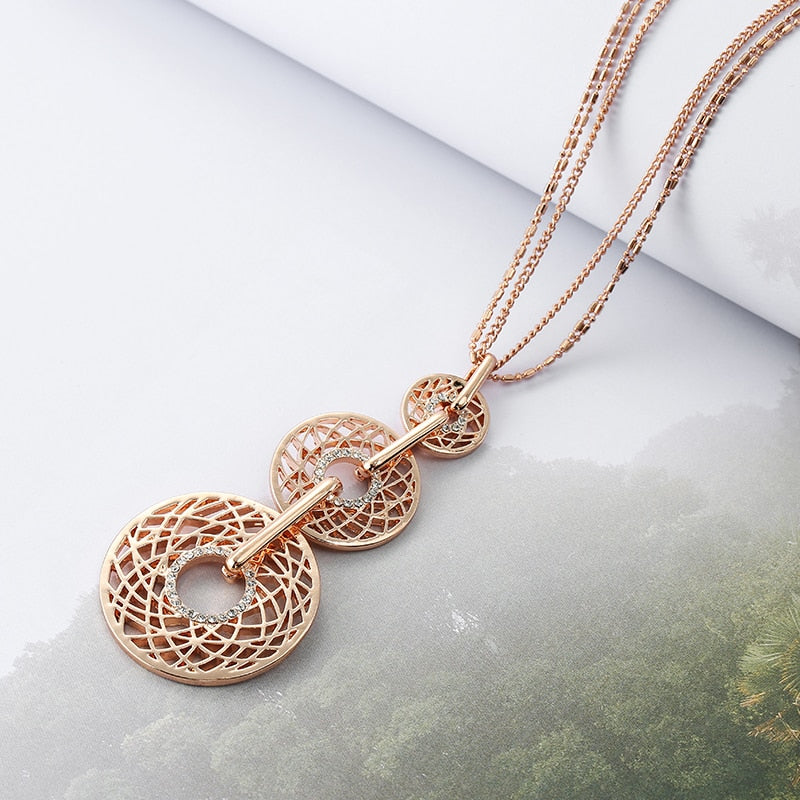 Crystal Hollow Long Circle Pendant Multilayer Chain Necklace