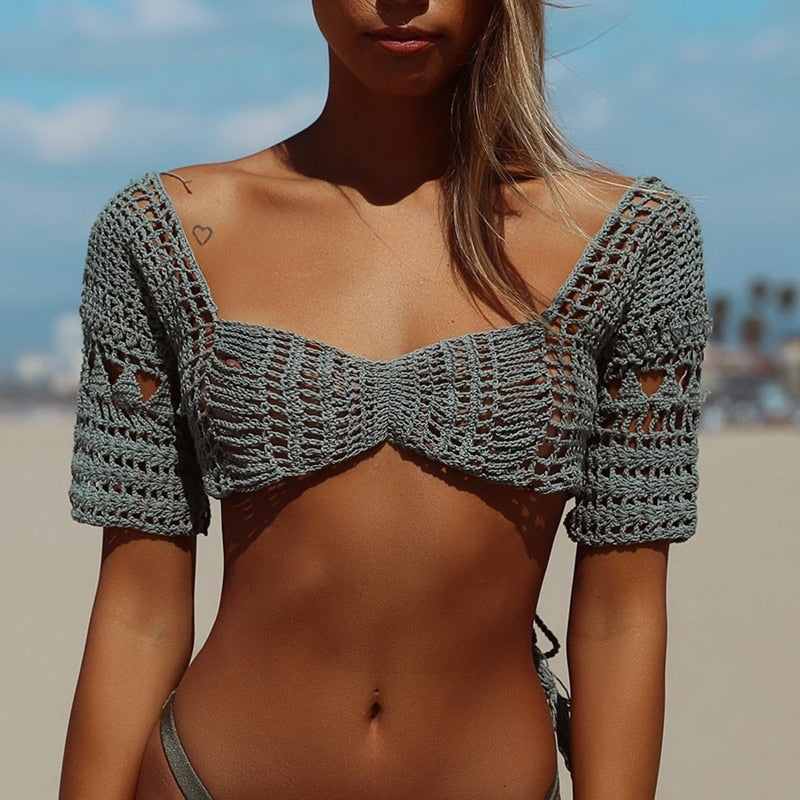 Crochet Off Shoulder Short Sleeve Top Cover Up