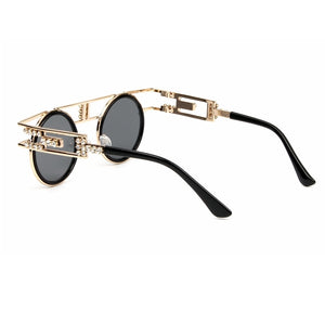 Vintage Metal Frame Steampunk Gothic Rhinestone Double Bar Round Sunglasses