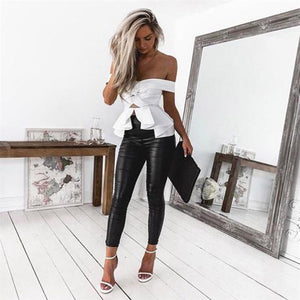 PU Leather Low Waist Hip Push Up Pant