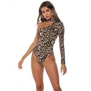 Leopard Snake Print Halter One Shoulder Bodysuit