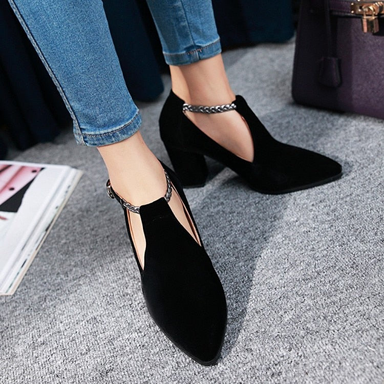 Elegant Pointed Toe Braided Buckle Strap Square High Heel Shoes