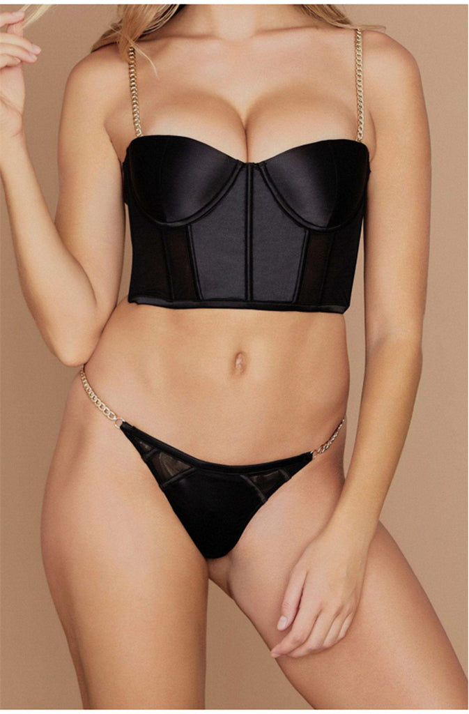 Chain Strap Padded Satin Bustier Crop Top