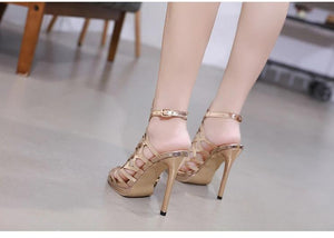 Open Toe Hollow Buckle Back Strap Thin High Heel