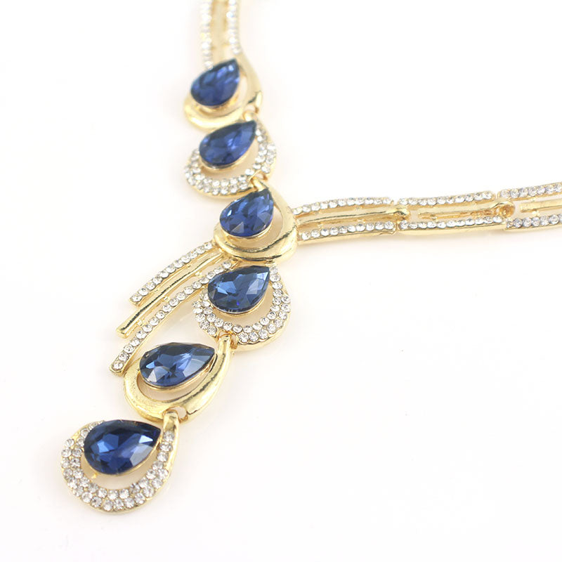 Water Drop Shape Glass Crystal Rhinestone Jewelry Set