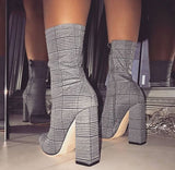 Pointed Toe Square Zipper Ankle Boot