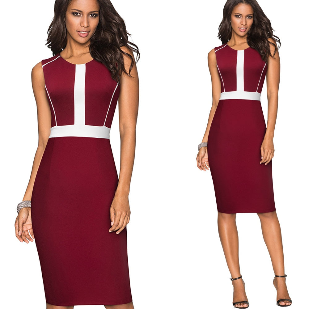 O Neck Sleeveless Patchwork Zipper Back Bodycon Dress