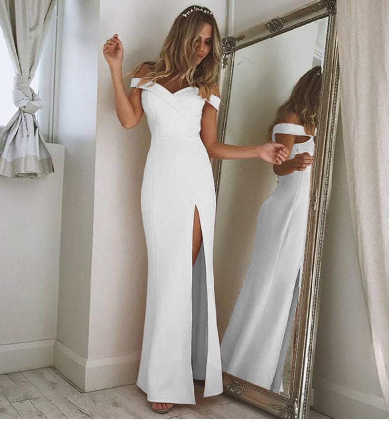 Strapless Sleeveless Side Split Loose Casual Maxi Dress