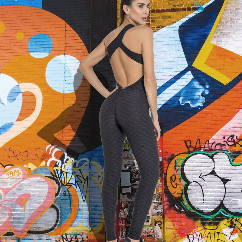 One Piece Backless Workout Gym Bodysuit