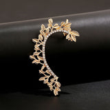 Leaf Curved Rhinestone Ear Cuff Clip Earring