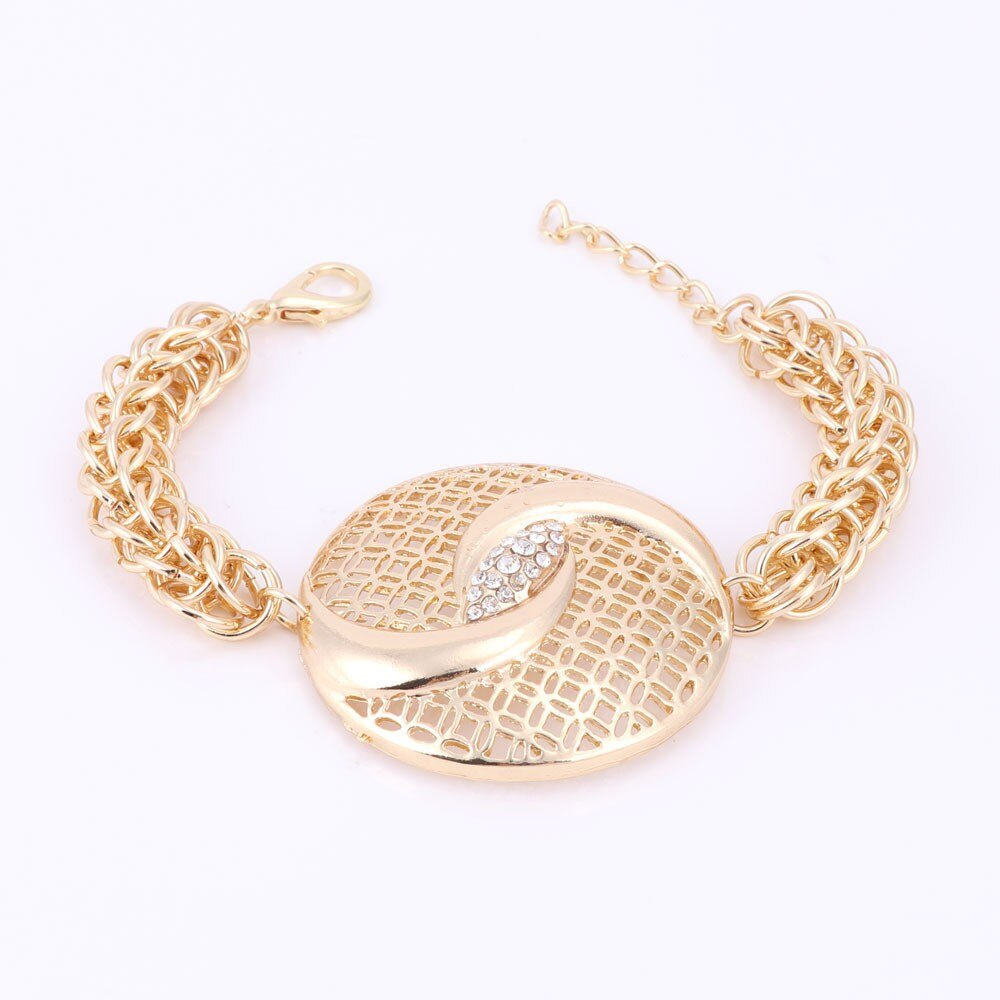 Round Hollow Out Over Gild Pendant Thick Chain Jewelry Set