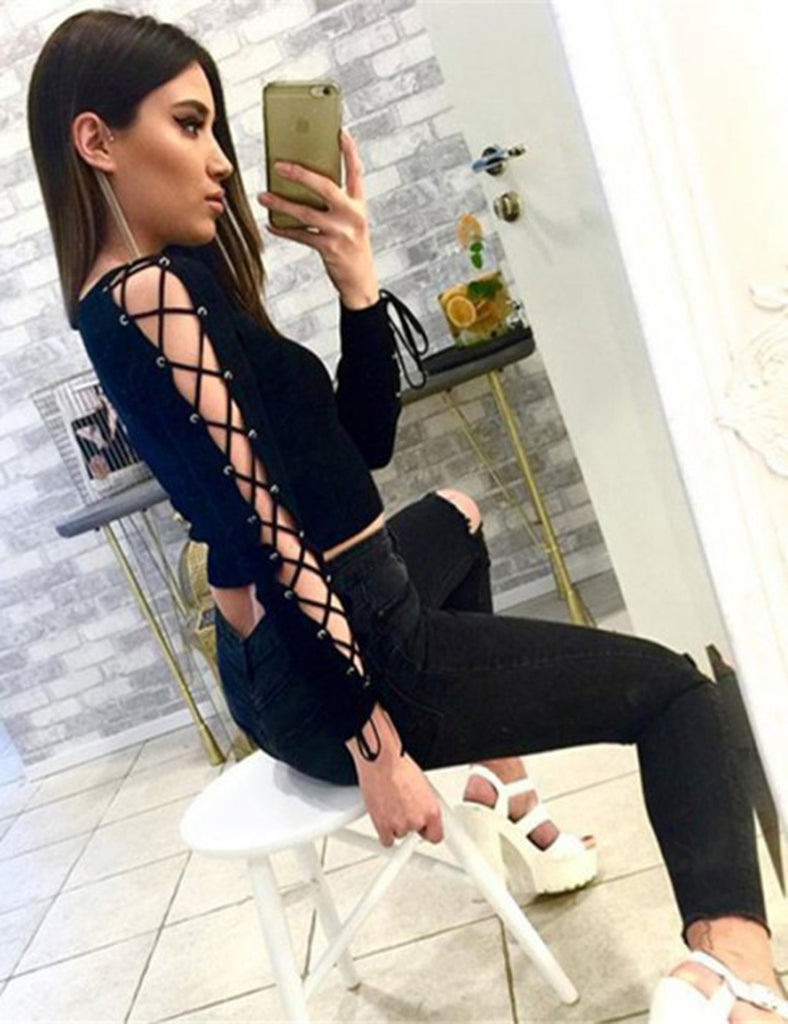 Hollow Out Bandage Lace Up Long Sleeved Crop Top