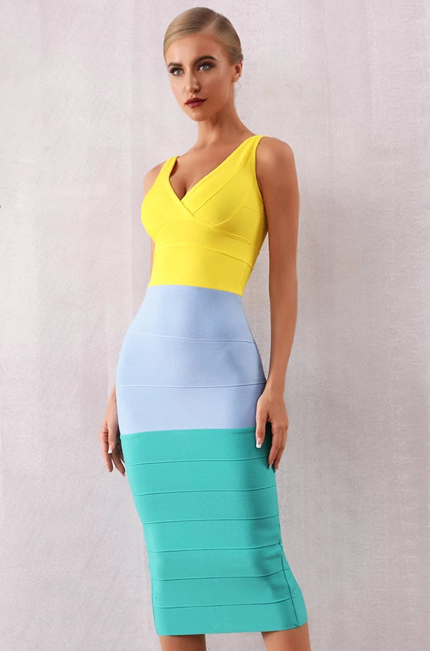 Patchwork V Neck Sleeveless Tank Celebrity Bodycon Dress